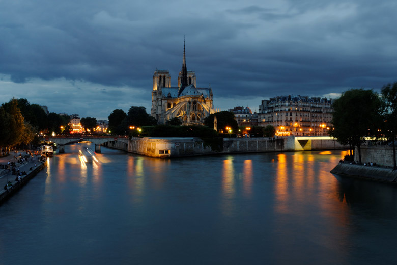 Notre-Dame Cathedral at dusk, Paris, France, by S. Faric