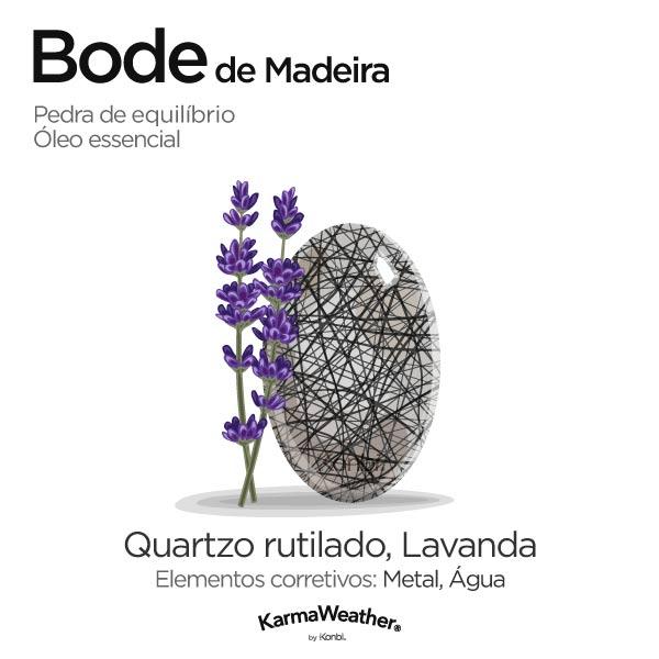 Bode de Madeira: pedra de equilíbrio e óleo essencial