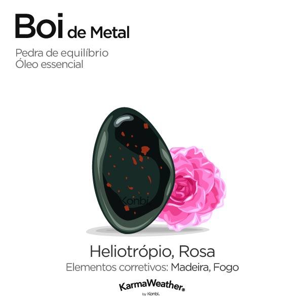 Boi de Metal: pedra de equilíbrio e óleo essencial