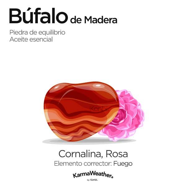 Búfalo de Madera: piedra de equilibrio y aceite esencial
