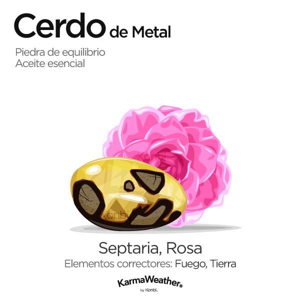 Cerdo de Metal: piedra de equilibrio y aceite esencial