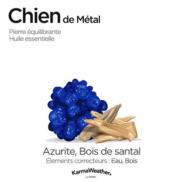 Chien de Métal: pierre équilibrante et huile essentielle