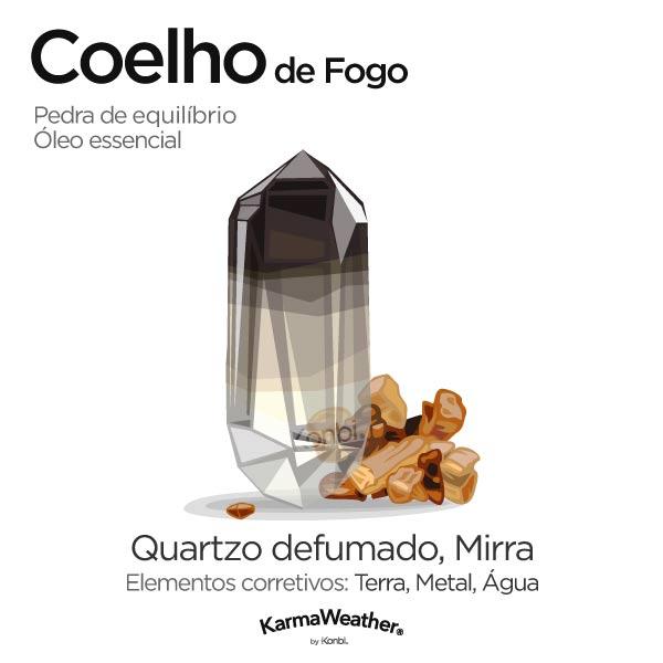 Coelho de Fogo: pedra de equilíbrio e óleo essencial