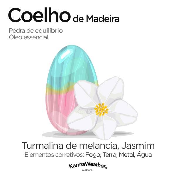 Coelho de Madeira: pedra de equilíbrio e óleo essencial