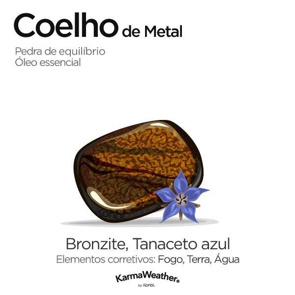 Coelho de Metal: pedra de equilíbrio e óleo essencial