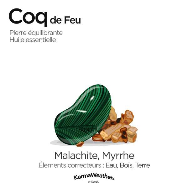 Coq de Feu: pierre équilibrante et huile essentielle