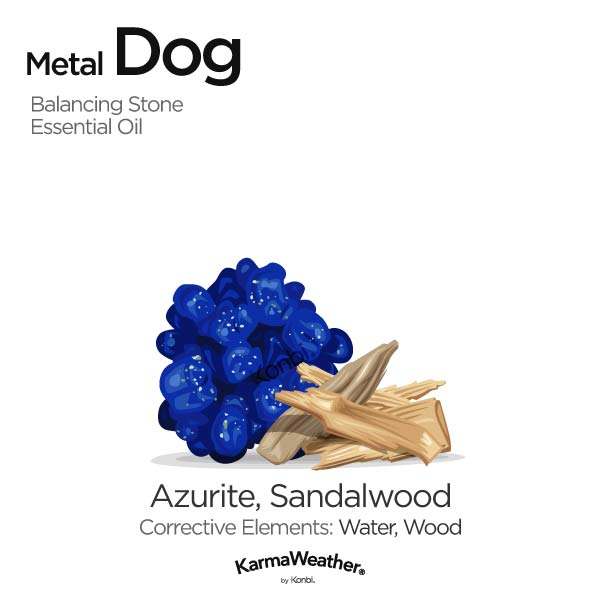 Metal Dog's balancing stone and essential oil
