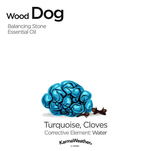 Wood Dog's balancing stone and essential oil
