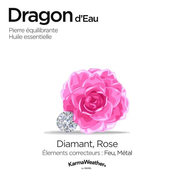 Dragon d'Eau: pierre équilibrante et huile essentielle