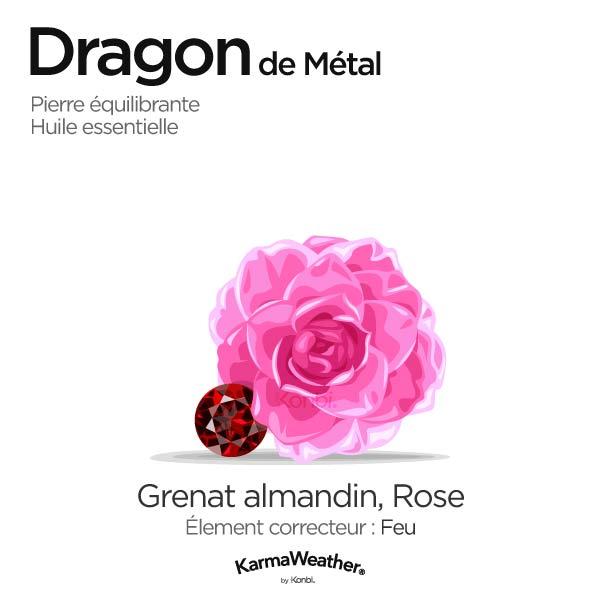 Dragon de Métal: pierre équilibrante et huile essentielle
