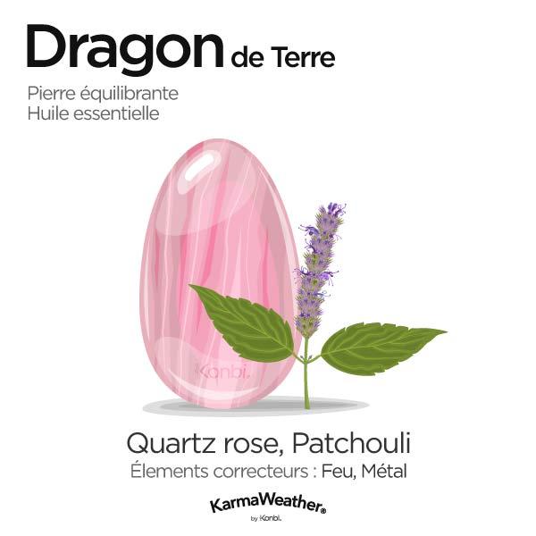 Dragon de Terre: pierre équilibrante et huile essentielle