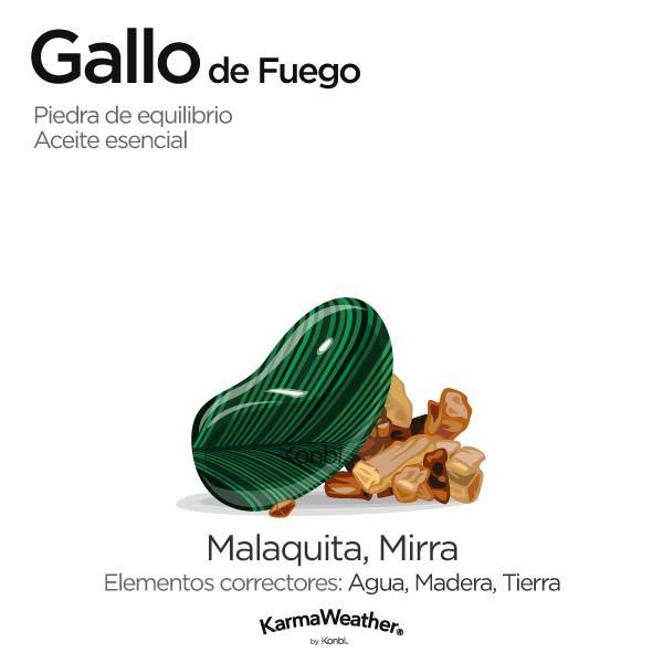 Gallo de Fuego: piedra de equilibrio y aceite esencial
