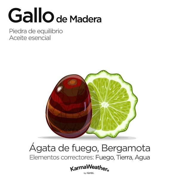 Gallo de Madera: piedra de equilibrio y aceite esencial