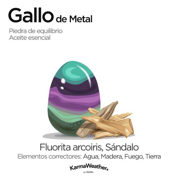 Gallo de Metal: piedra de equilibrio y aceite esencial