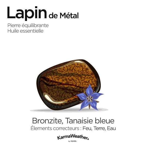 Lapin de Métal: pierre équilibrante et huile essentielle