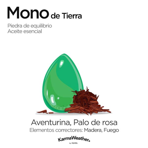 Mono de Tierra: piedra de equilibrio y aceite esencial
