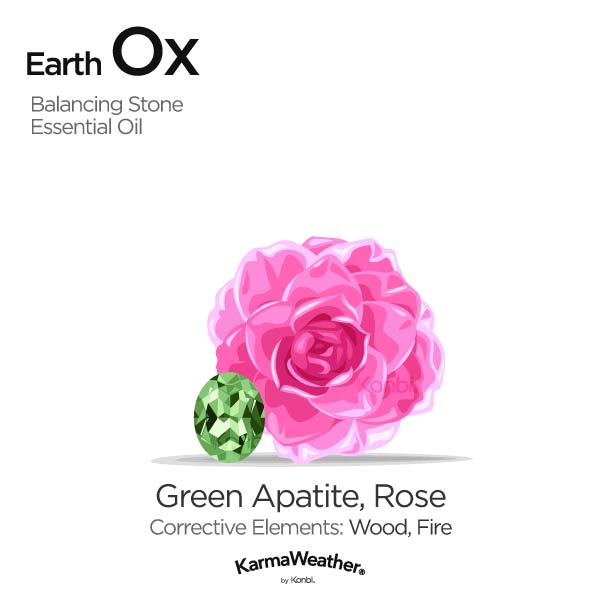 Earth Ox's balancing stone and essential oil