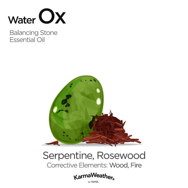 Water Ox's balancing stone and essential oil