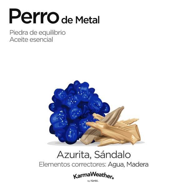Perro de Metal: piedra de equilibrio y aceite esencial