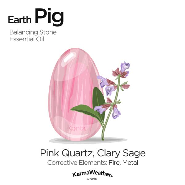 Earth Pig's balancing stone and essential oil