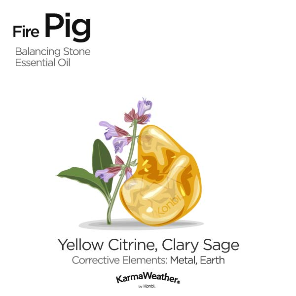 Year of the Fire Pig's balancing stone and essential oil