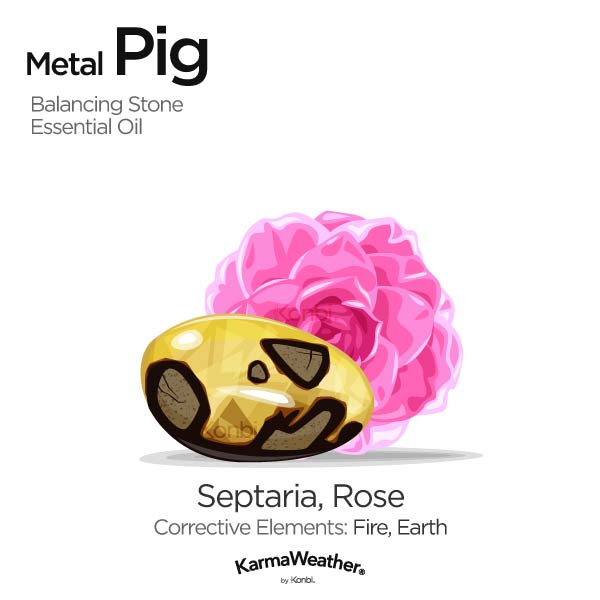 Metal Pig's balancing stone and essential oil