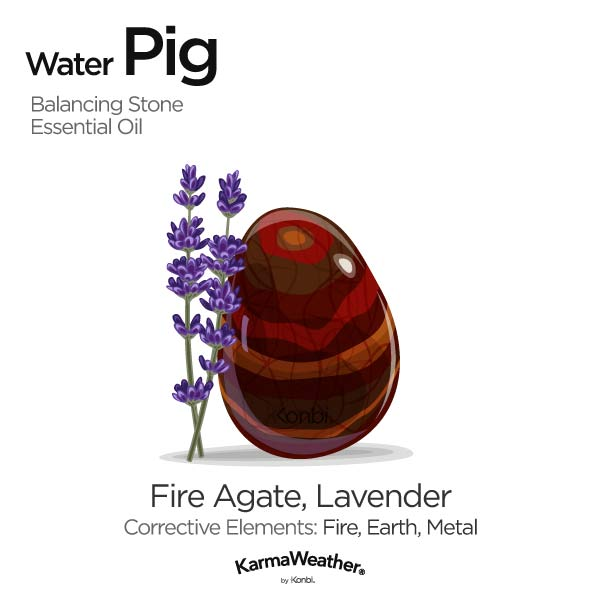 Water Pig's balancing stone and essential oil