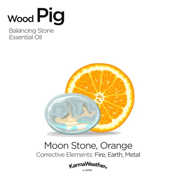 Wood Pig's balancing stone and essential oil