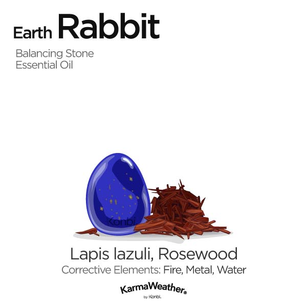 Year of the Earth Rabbit's balancing stone and essential oil