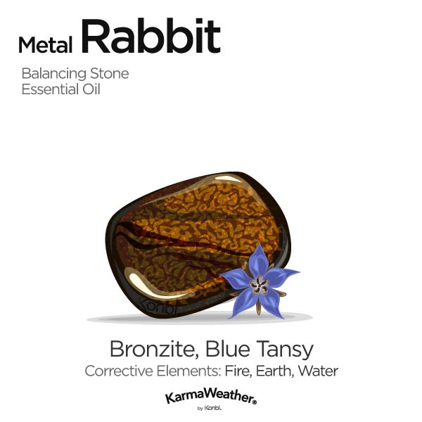 Metal Rabbit's balancing stone and essential oil