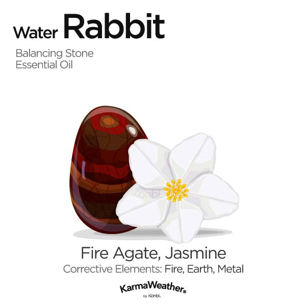 Water Rabbit's balancing stone and essential oil