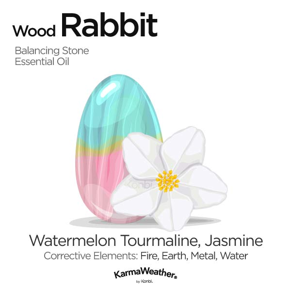 Wood Rabbit's balancing stone and essential oil