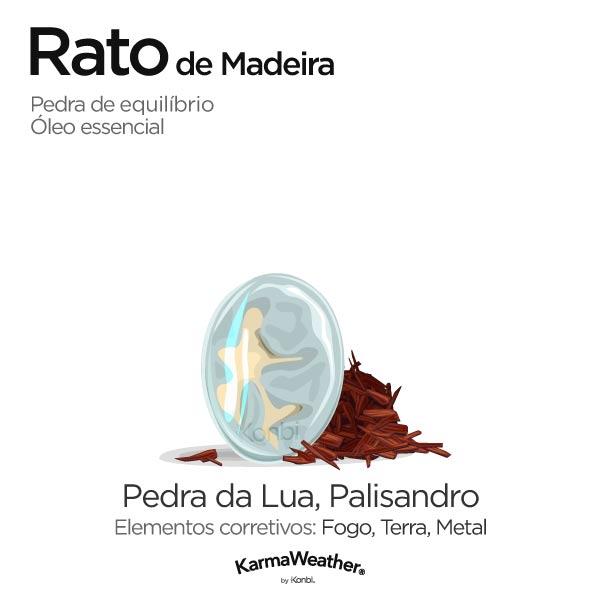 Rato de Madeira: pedra de equilíbrio e óleo essencial