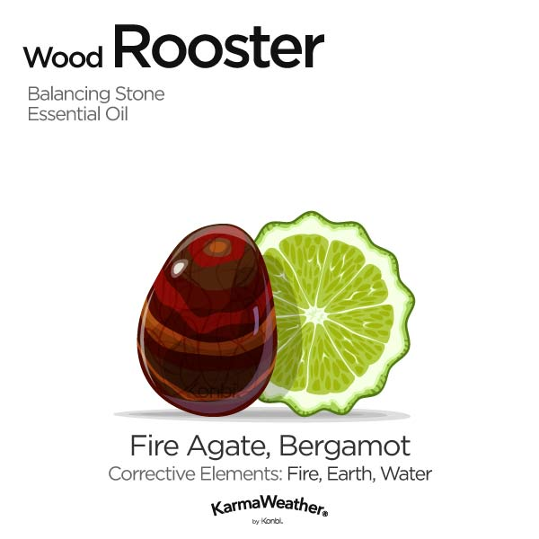 Year of the Wood Rooster's balancing stone and essential oil