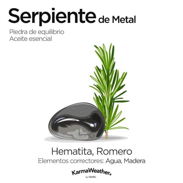 Serpiente de Metal: piedra de equilibrio y aceite esencial