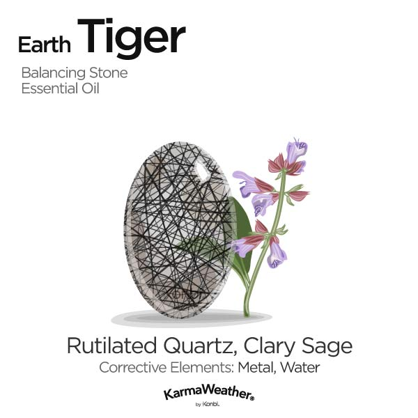 Year of the Earth Tiger's balancing stone and essential oil