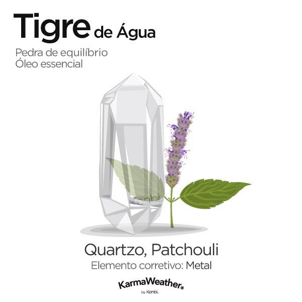 Tigre de Água: pedra de equilíbrio e óleo essencial