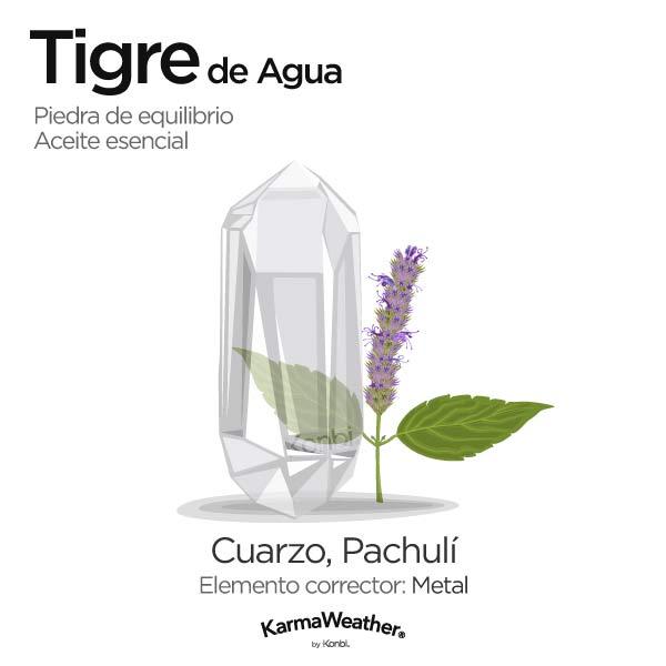 Tigre de Agua: piedra de equilibrio y aceite esencial