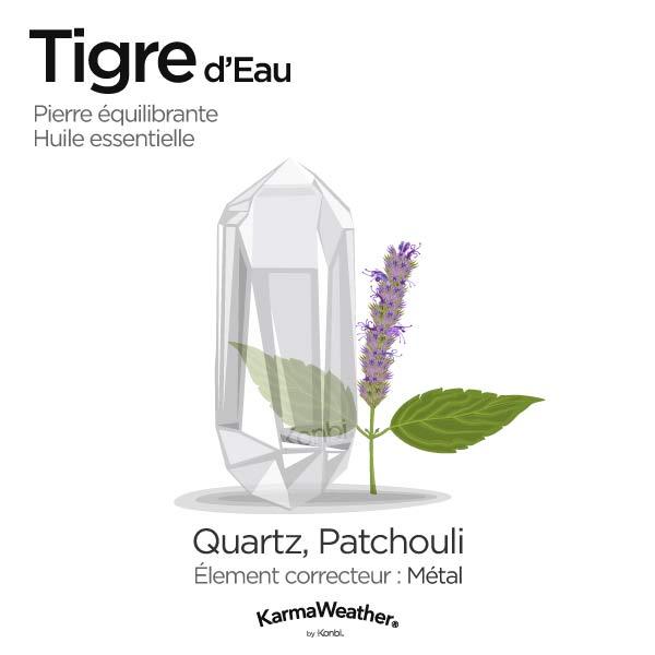 Tigre d'Eau: pierre équilibrante et huile essentielle