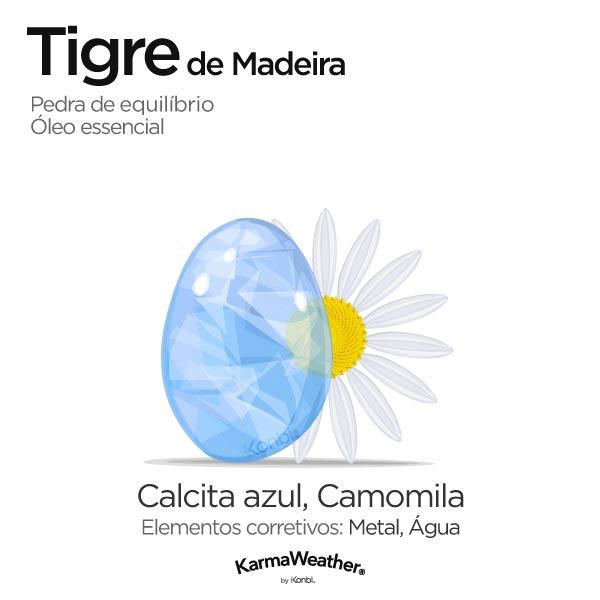 Tigre de Madeira: pedra de equilíbrio e óleo essencial
