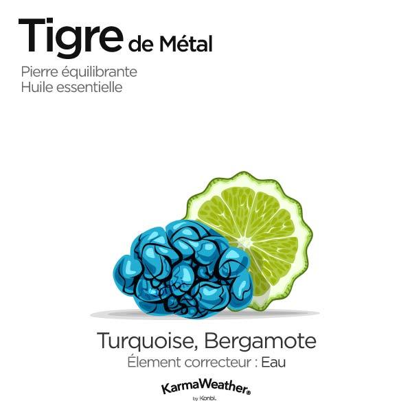 Tigre de Métal: pierre équilibrante et huile essentielle