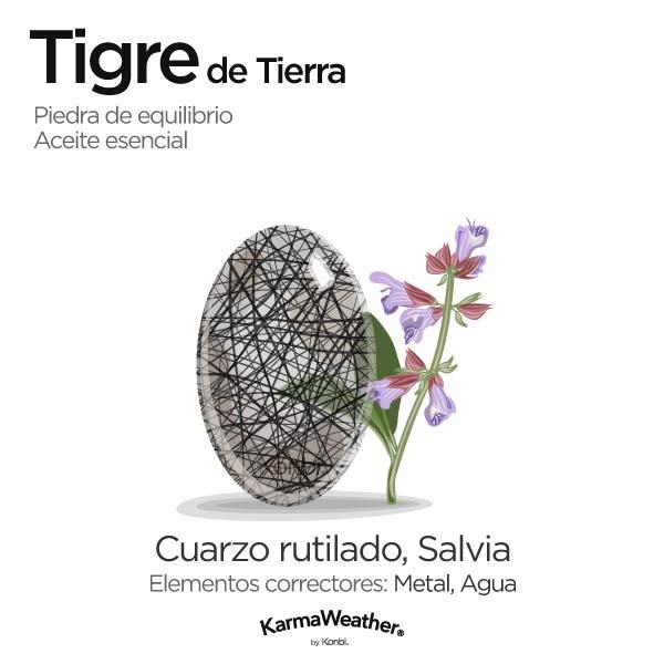 Tigre de Tierra: piedra de equilibrio y aceite esencial