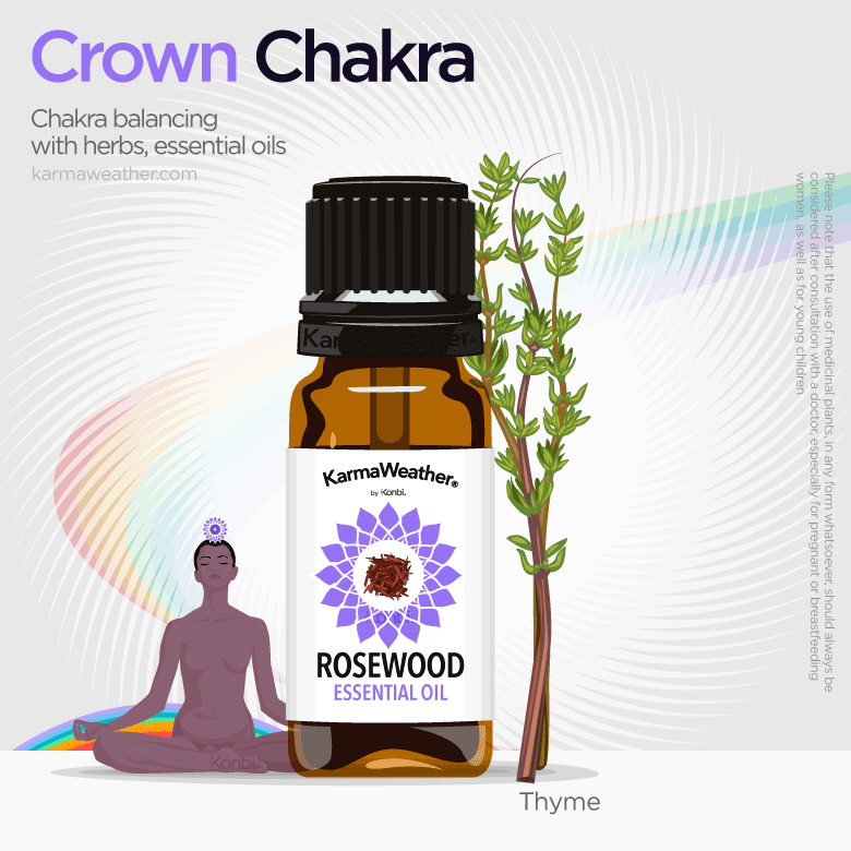 Crown chakra balancing with herbs and essential oil
